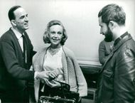 "Drama director Ingmar Bergman together with actress Inga Tidblad and director Staffan Aspelin for the play ""Glasmenageriet"" at Dramaten"