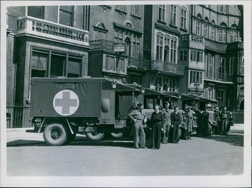 1945 Britain presents ambulances to Danish Red Cross Some of the ambulances and their Danish driver, prior to leaving London for Denmark.