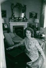 Princess Margaretha, Mrs. Ambler, sitting in the living room. 1967.