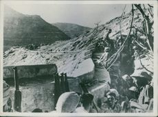 1944 Troops in their position in fort during war.