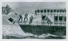 Drawing of soldiers jumping off the war ship, Germany.