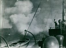A bomb blast in the sea during Japan war I, 1937.