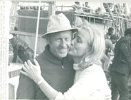 Thor Heyerdahl gets a kiss by his wife Yvonne before departure with RA II to Mexico
