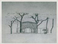 Drawing of the cremation building Nacka