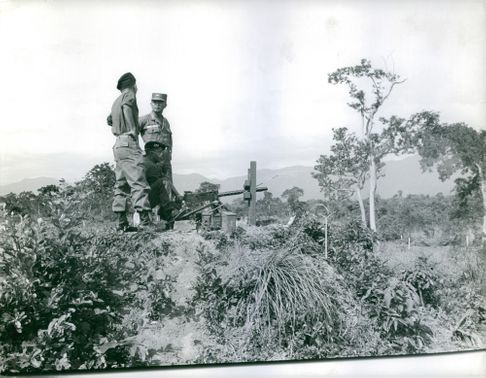 Soldiers on guard in Vietnam. 1962.