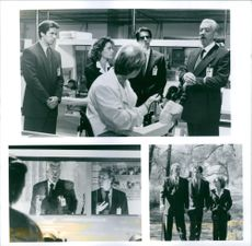 """Scenes from the film """"The Puppet Masters"""", with Eric Thal as Sam Nivens, Julie Warner as Mary Sefton, Will Patton as Dr. Graves, Richard Belzer as Jarvis, Donald Sutherland as Andrew Nivens (The Old Man), 1994."""