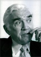 Close up of Canadian actor and musician Lorne Greene, while he looking at somewhere