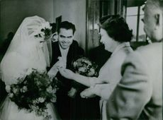 Valentina Tereshkova and her husband Andriyan Nikolayev receiving gifts at their weeding ceremony.