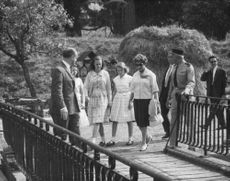 Princess Anne walking with friends.