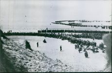 Soldiers marching.