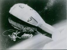 An illustration of an astronaut in the space near his space craft.