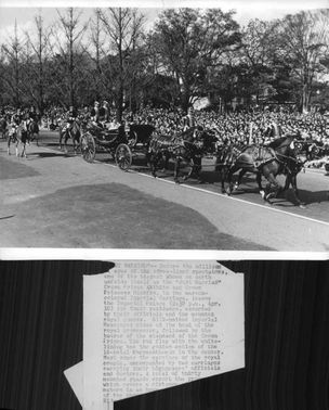 The carriages that gave the newly wed a ride - Prince Akihito and Michiko. 1959