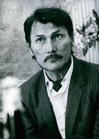 Close up of American actor and singer Jack Palance, he have looked at something