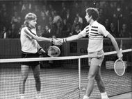 Björn Borg and Brian Gottfried shake hands after the match in Stockholm Open 1976