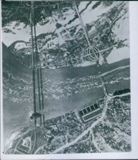 An aerial view of the Bridge over Jalu River through airplane.  1950