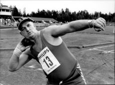 Rolf Standli competes in ball and discus.