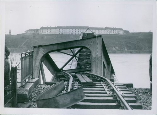 Poland during WWII. 1939 View of broken bridge and railway track.