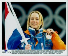 Winter Olympics in Nagano 1998. Speed ??Skating. Marianne Timmer took gold in the ladies' 1500 meter race