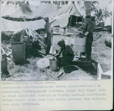 American soldiers doing laundry in the Pacific.