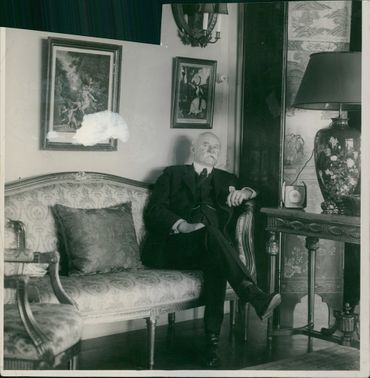 Viktor Gustaf Balck siting on the couch.