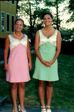 Crown Princess Victoria her friend Caroline Severin during their graduation party at Ulriksdal Castle.