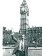 Denis Healey in front of the British lower house