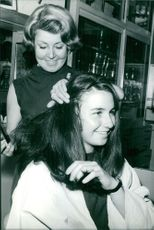 Marielle Goitschel being groomed in a salon.  Taken - 17 May 1965
