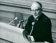 Center party leader Gunnar Hedlund in the lecture hall during a foreign debate in the second chamber of parliament