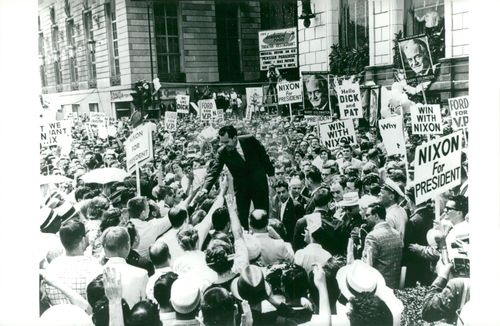 Vice President Richard Nixon arrives at the Republican Convention