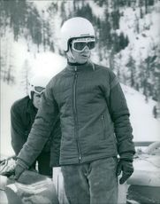 Prince Michael of Kent skiing.