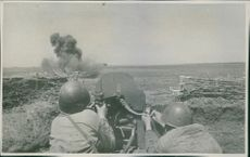 Machine gunners repulse enemy infantry offensive. 1942