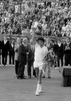 Spanish tennis player Juan Aquilera after victory in the German Open final against Boris Becker