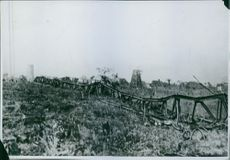 Picture of one of the nine large towers attached to the wireless station and destroyed by the Germans.