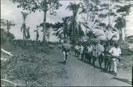 Local people carrying woods, soldiers guarding.