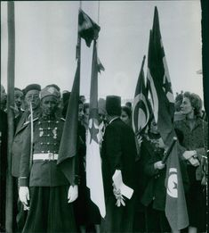 People standing together and holding flags.