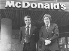 Swedish McDonald's CEO Paul Lederhausen and Restaurant Manager Mikael Wallin outside McDonald's on Norrlandsgatan