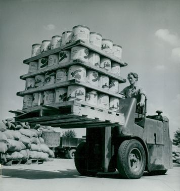 Truck with cans of pickled salt cows