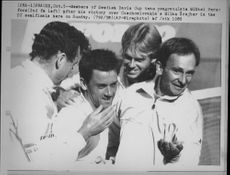Mikael Pernfors is celebrated after winning the Davis Cup
