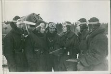Fighter pilot standing together during the Russian war.