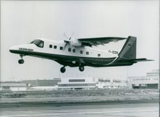The Dornier 228 commuter aircraft being demonstrated at Frankfurt Airport, West Germany.
