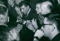 Leonard Bernstein  in a crowd, 1959.