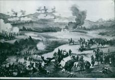 Illustration of a battle ground during wartime.1859