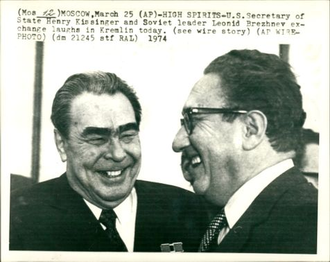Dr. Henry Kissinger with Mr Brezhnev.