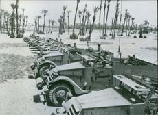 French Troops Train with New American Equipment View of French soldiers in American-made armoured cars in Japan.