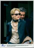 Actress Sharon Stone leaves Paris with her boyfriend Michel Benasera