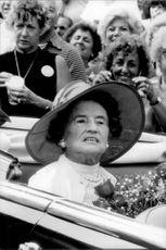 Rose Kennedy in an open car under the cardigan when she celebrated her 93th birthday.