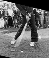 Portrait of golfers in action