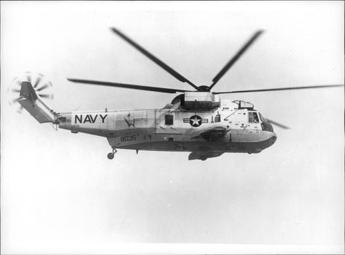 Helicopter type Sikorsky S-61 during a test flight