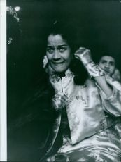 Edna Mae Holly 2nd wife of Sugar Ray Robinson during a boxing match of Ray Robinson.