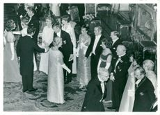 King's dinner at the castle. Princess Sibylla welcomes university chancellor Hans Löwbeer with his wife